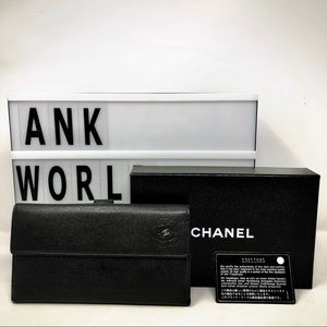 Chanel camellia CC black leather long wallet